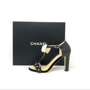 Chanel High Heeled T-strap Sandals